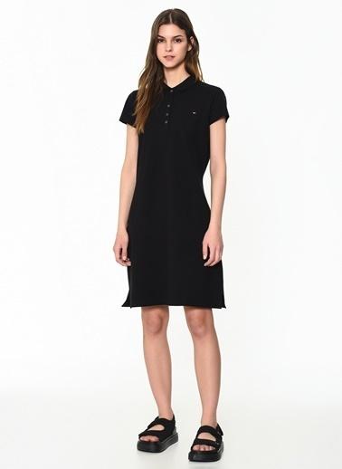 Tommy Hilfiger Kadın New Chiara Str Pq Polo Elbise 1M87640146 Siyah